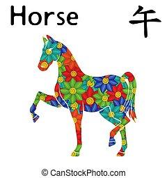 zodiac, oostelijk, paarde, meldingsbord