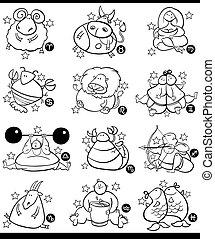 zodiac, overgewicht, spotprent, tekens & borden