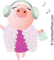 Zodiac pig Aries. Chinese horoscope symbol 2019 year.