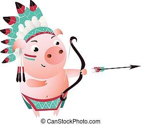Zodiac pig Sagittarius. Horoscope symbol 2019