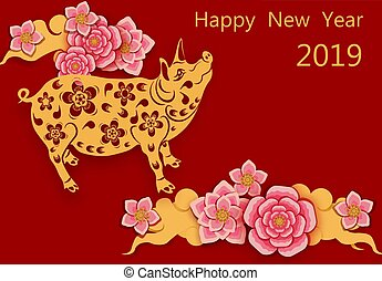 Zodiac Pigs. Chinese New Year. Picture of a pig, sakura flowers Congratulatory inscription. illustration
