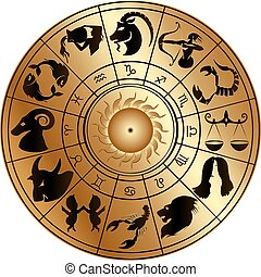 zodiac, schijf, goud, tekens & borden