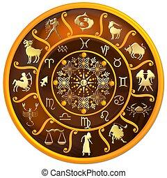 zodiac, schijf, met, tekens & borden, en, symbolen