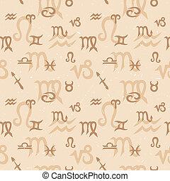 Zodiac Seamless Pattern - Seamless pattern with zodiac...