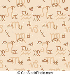 Zodiac Seamless Pattern - Seamless pattern with zodiac...