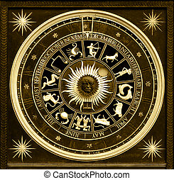 Sephia zodiac clock with gold deatail and decoration