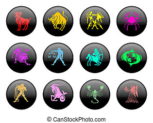 Zodiac - Set of icons for twelve zodiac signs