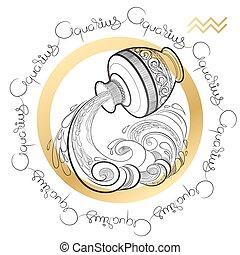 Zodiac sign Aquarius on white background. - Hand drawn line...