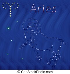 Zodiac sign Aries contour on the starry sky