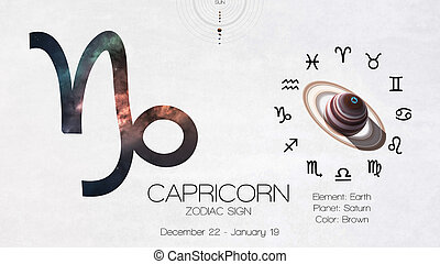 Zodiac sign - Capricorn. Cool astrologic infographics. Elements of this image furnished by NASA
