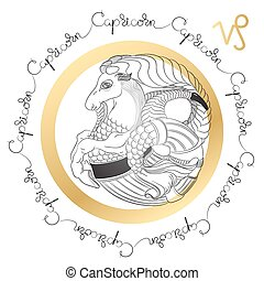Zodiac sign Capricorn. Horoscope card in zentangle style. -...