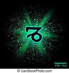 Zodiac sign Capricorn cosmic explosion background. Vector illustration