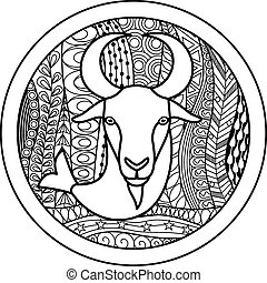 Vector illustration of abstract zodiac sign for talismans, textile prints, tattoo
