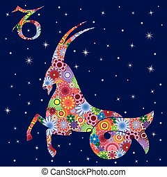Zodiac sign Capricorn with flowers fill over starry sky