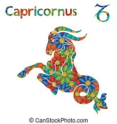 Zodiac sign Capricornus with stylized flowers