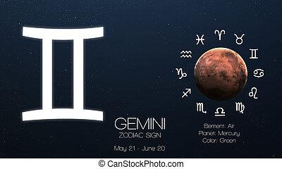 Zodiac sign - Gemini. Cool astrologic infographics. Elements...