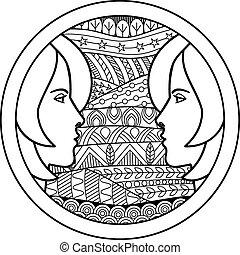 Zodiac sign Gemini - Vector illustration of abstract zodiac...