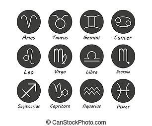 Zodiac sign icon. Vector illustration, flat design.