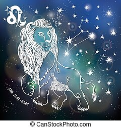 Leo Zodiac sign. Lion Horoscope constellation, stars. Vector Abstract space, dark sky blurred background, stars, shiny bokeh. Design template. Astrology Illustration, Beast, King silhouette
