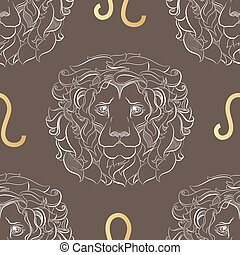 Zodiac sign Leo. Horoscope vintage seamless pattern.