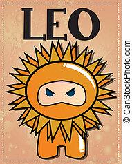 Zodiac sign Leo ninja - Zodiac sign Leo with cute black...
