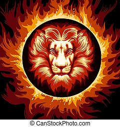 Zodiac Sign of Lion in Fire Circle