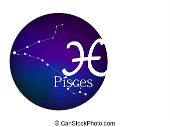 Zodiac sign Pisces for horoscope, constellation and symbol in round frame