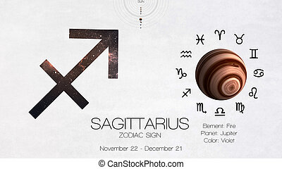 Zodiac sign - Sagittarius. Cool astrologic infographics. Elements of this image furnished by NASA