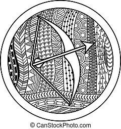 Zodiac sign Sagittarius - Vector illustration of abstract...