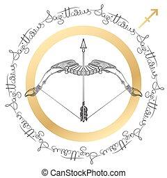 Zodiac sign Sagittarius. Horoscope card in zentangle style....