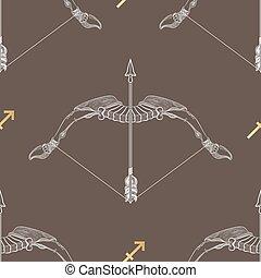 Zodiac sign Sagittarius. Horoscope vintage seamless pattern.
