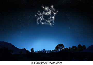 Zodiac Sign Sagittarius with a star and symbol outline on a...