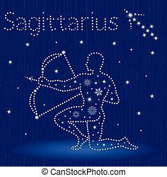 Zodiac sign Sagittarius with snowflakes - Zodiac sign...