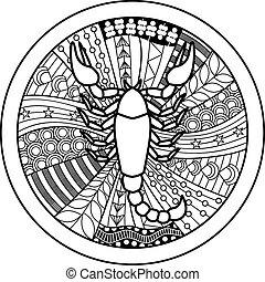 Zodiac sign Scorpio - Vector illustration of abstract zodiac...
