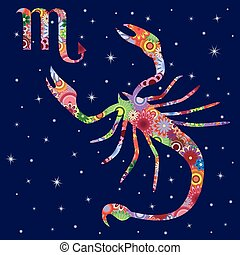 Zodiac sign Scorpio with flowers fill over starry sky