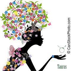Zodiac sign taurus. fashion girl