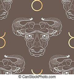Zodiac sign Taurus. Horoscope vintage seamless pattern.