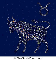 Zodiac sign Taurus over starry sky - Zodiac sign Taurus on a...