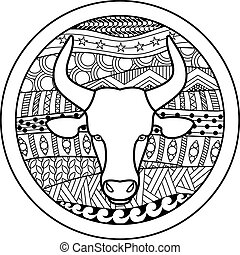 Zodiac sign Taurus - Vector illustration of abstract zodiac...