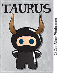 Zodiac sign Taurus with cute ninja character, vector