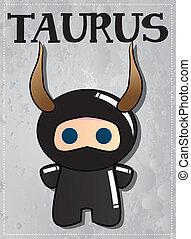 Zodiac sign Taurus with cute ninja character, vector