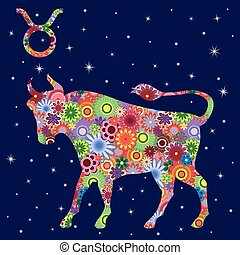 Zodiac sign Taurus with flowers fill over starry sky