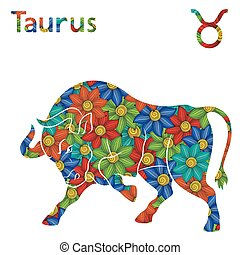 Zodiac sign Taurus with stylized flowers