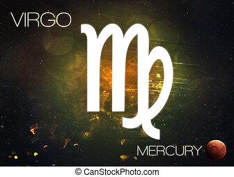 Zodiac sign - Virgo. Cosmos background