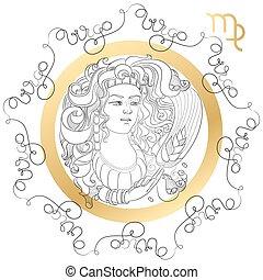 Zodiac sign Virgo. Horoscope card in zentangle style with...