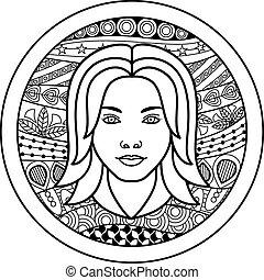 Zodiac sign Virgo - Vector illustration of abstract zodiac...
