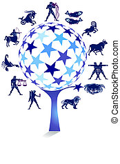 zodiac sign with star tree