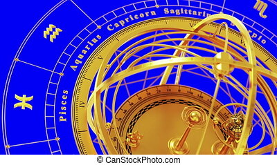 Zodiac Signs and Armillary Sphere On Blue Screen. Seamless Looped. 3D Animation.