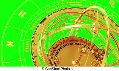 Zodiac Signs and Armillary Sphere On Green Screen. Seamless Looped. 3D Animation.