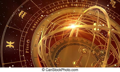 Zodiac Signs and Armillary Sphere On Red Background. Seamless Looped. 3D Animation.
